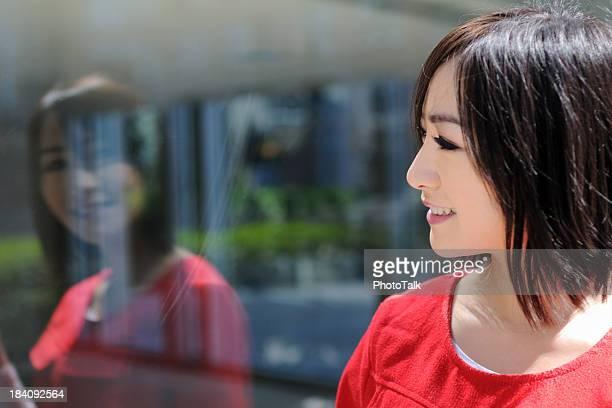 Woman Looking Through Window - XLarge
