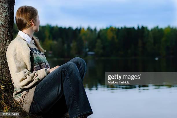 Woman looking to lake