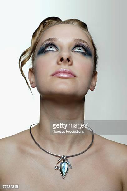 Woman looking upwards