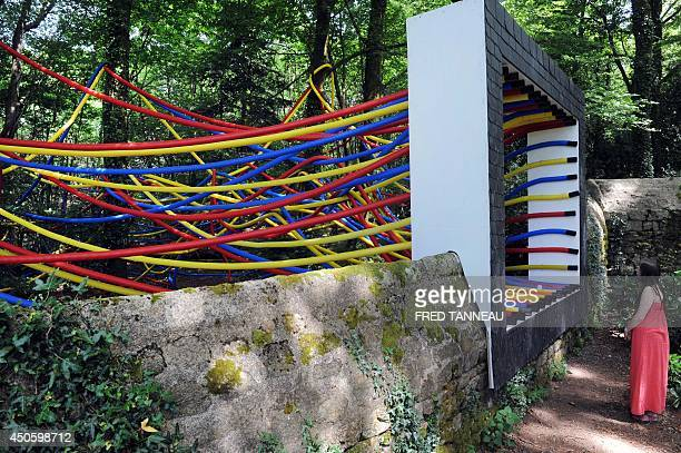 A woman looks at a 3D abstract painting by the FrenchSerbian artist Igor Antic intitled 'Allochtone' in Mellionnec western France on June 13 as part...