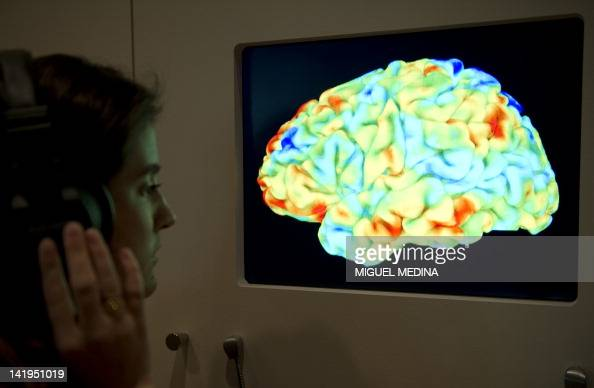 A woman looks at a functional magnetic resonance image showing the effect of Stravinsky's Rite of Spring and Kant's 3rd Critique on the human brain...