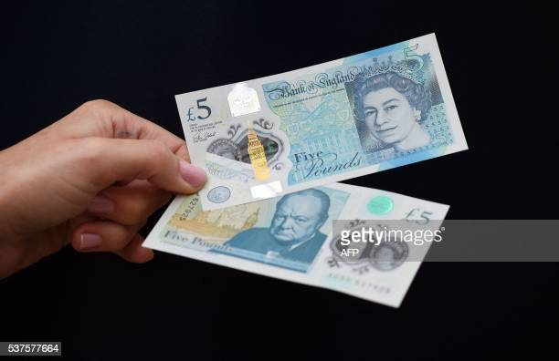 A woman looks at a new £5 banknote bearing the image of wartime leader Winston Churchill at its unveiling by the Bank of England at Blenheim Palace...