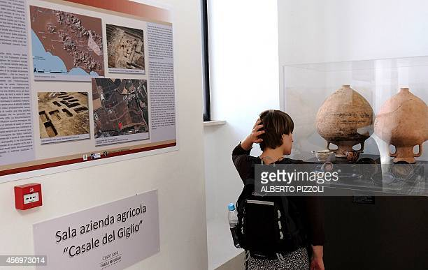 PALASCIANO A woman looks at amphora found in the vineyard of the Casale Del Giglio in the small village of Borgo Le Ferriere near Nettuno south of...
