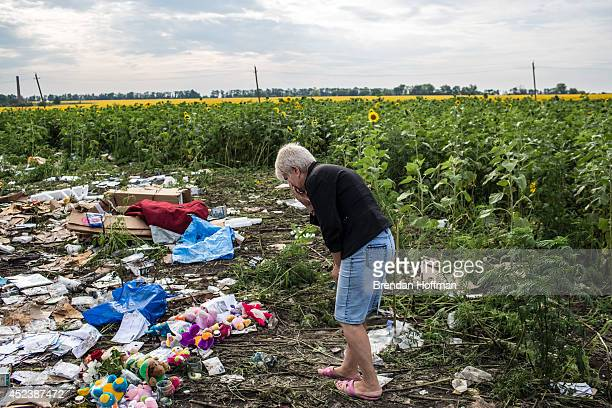 A woman looks at debris from Malaysia Airlines flight MH 17 which landed in a field of sunflowers on July 19 2014 in Rassipnoye Ukraine Malaysia...