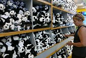 A woman looks at panda merchandise inside a gift shop at the National Zoo on August 27 2015 in Washington DC One of the two giant panda twins born at...