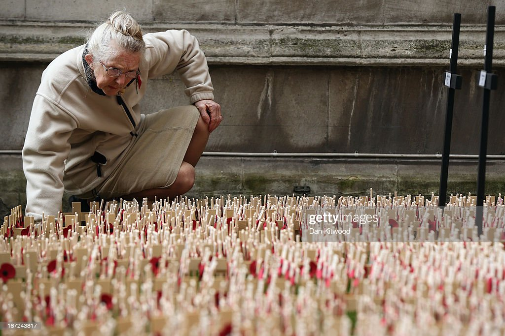 A woman looks at remembrance crosses outside Westminster Abbey after the official opening of the Royal British Legion's Field of Remembrance on November 7, 2013 in London, England. Hundreds of small crosses bearing a poppy have been planted in the Field of Remembrance to pay tribute to British servicemen and women who have lost their lives in conflict.