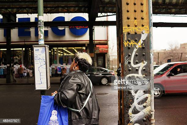A woman looks at the schedule for the B46 bus on April 8 2014 in the Brooklyn borough of New York City The B46 bus which runs through parts of Crown...