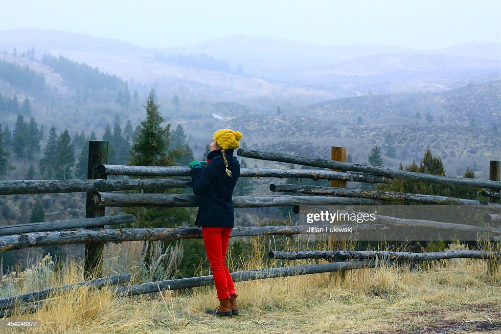 Woman looks out over rail fence : Stock Photo