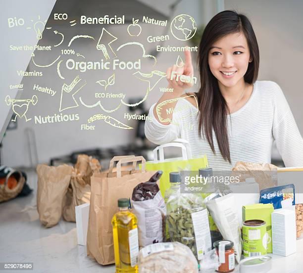 Woman loving organic food