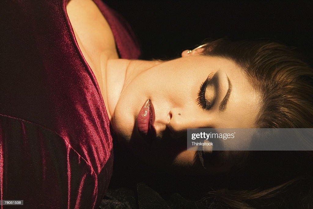 Woman lying down : Stock Photo