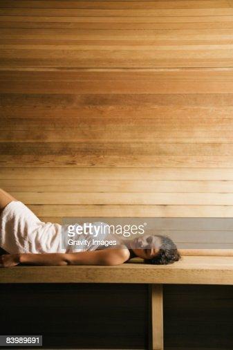 Woman Lying in Sauna : Stock Photo