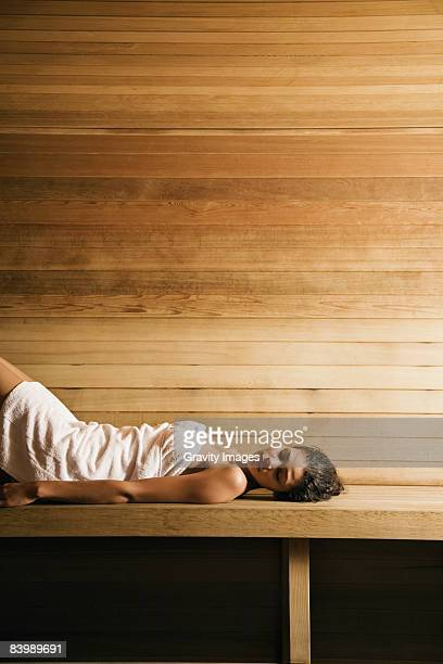 Woman Lying in Sauna