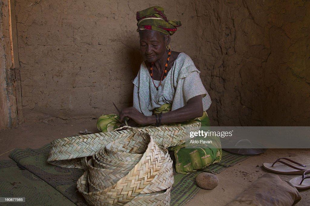 Woman making a basket