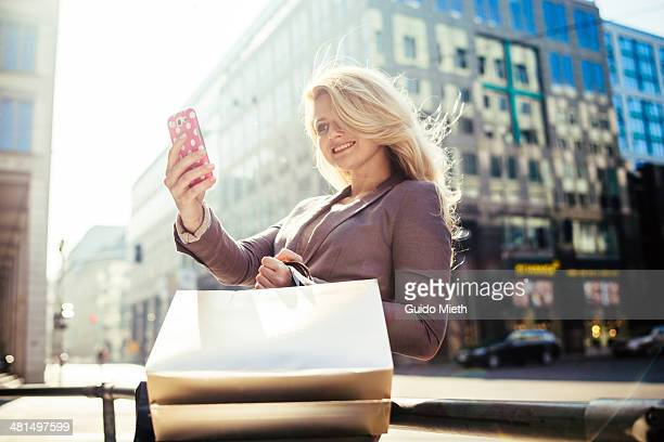 Woman making a selfie.