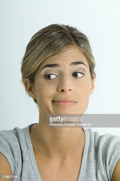 Woman making face, portrait