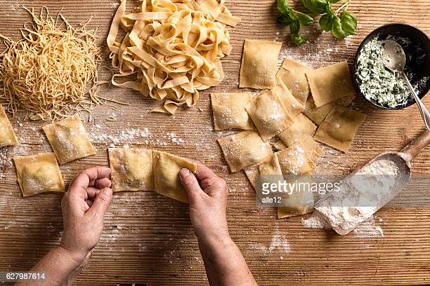 Woman making pasta