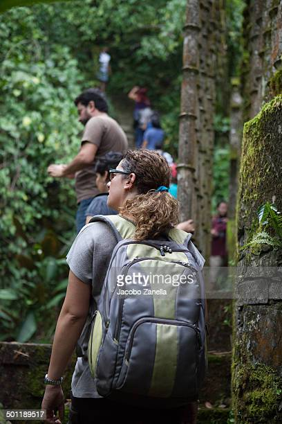 Woman marveling at the sculpture garden in Xilitla