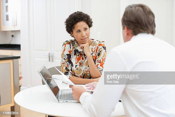 Woman meeting with financial advisor