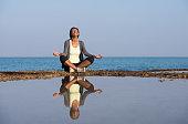Woman morning meditation.