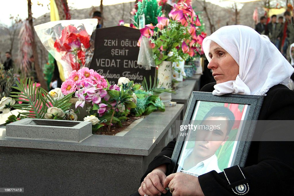 A woman mourns for a victim of a Turkish air raid, at the cemetery of Gulyazi Village on December 28, 2012 on the first anniversary of a Turkish military air strike aimed at Kurdish rebels that killed 34 civilians working as smugglers at the Turkey-Iraq border in Sirnak. AFP PHOTO/STR