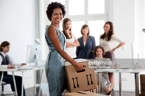Woman Moving into a New Office