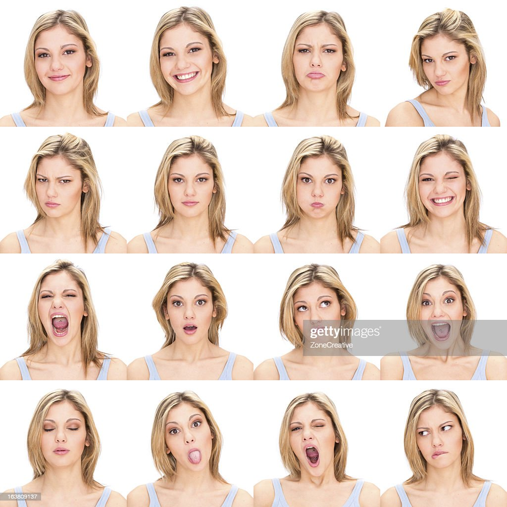 Woman multiple expression image on white background