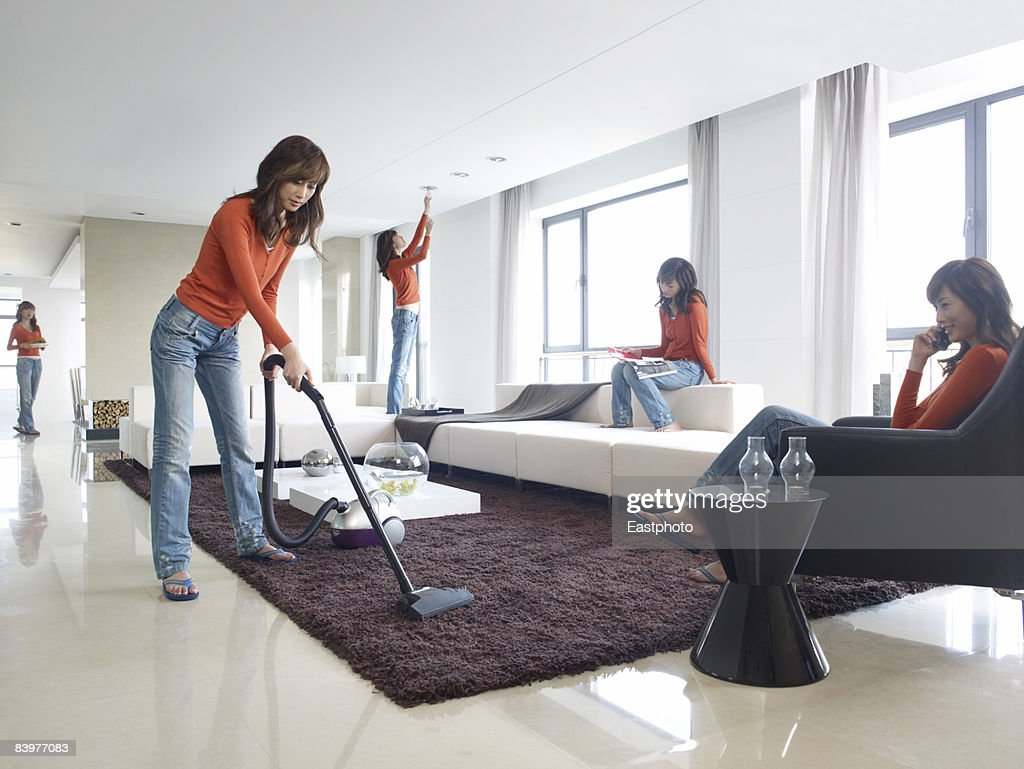 Woman multi-tasking. : Stock Photo