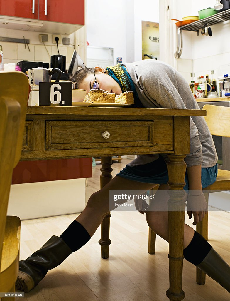 woman murdered in kitchen : Stock Photo