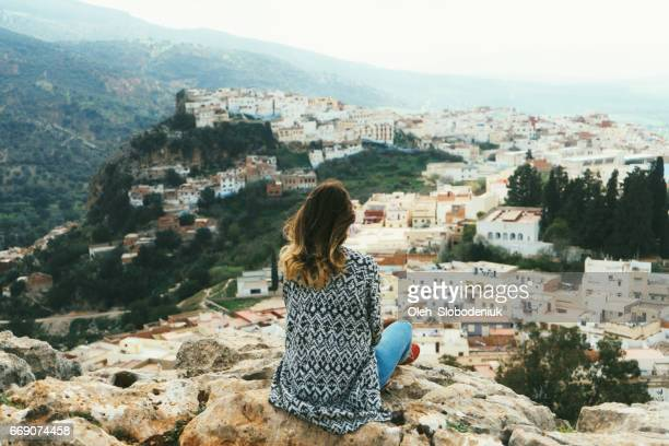 Woman near the scenic view of Moulay Idriss Zerhoun
