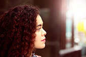 Woman of mixed race in profile