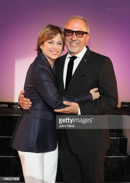 Woman of Substance and Style Honoree Dorothy Hamill poses with celebrity presenter Emilio Estefan at Destination Fashion 2012 To Benefit The...