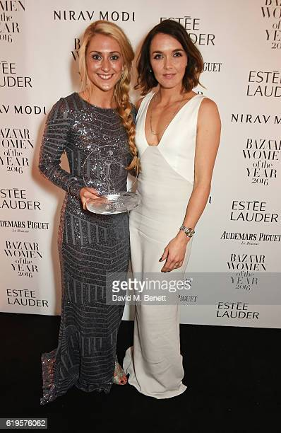 Woman of the Year winner Laura Trott and presenter Victoria Pendleton attend the Harper's Bazaar Women of the Year Awards 2016 at Claridge's Hotel on...