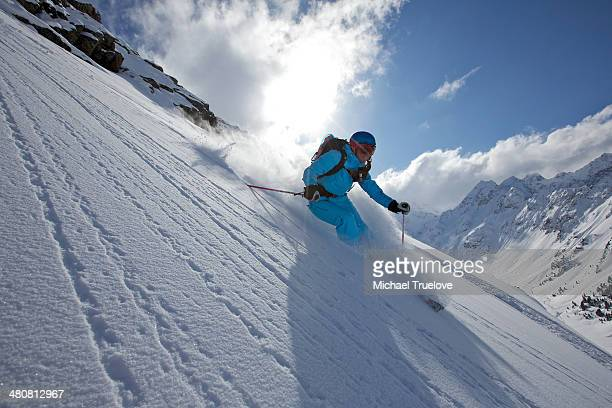 Woman off piste skiing in Kuhtai , Tirol, Austria