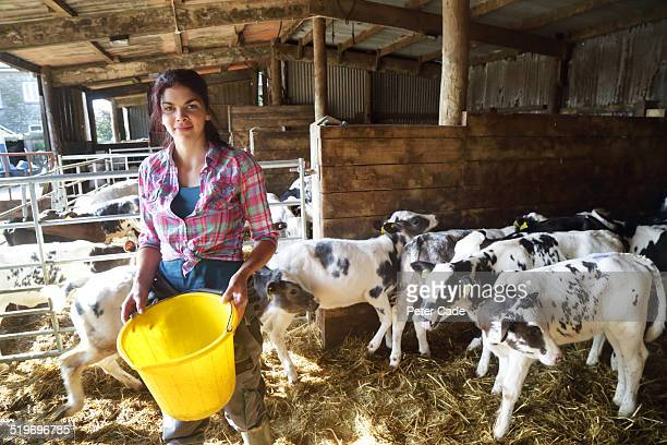 Woman on a farm feeding the calves smiling
