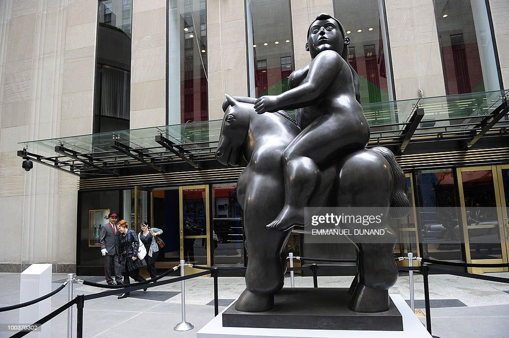 'Woman on a Horse' by Fernando Bottero is on display during a preview of Christie's Latin American Art auctions, May 24, 2010 in New York. Christie's will hold its Latin American Art auctions on May 26 and 27, 2010. AFP PHOTO/Emmanuel Dunand