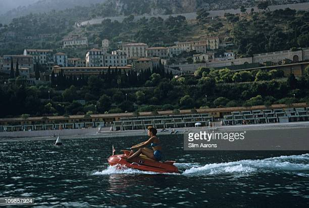 A woman on a jet ski off the coast of Monte Carlo 1956