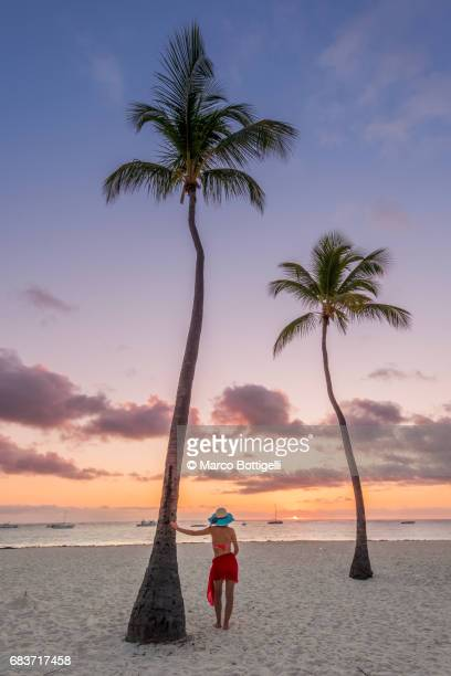 Woman on a palm fringed beach watching sunrise. Dominican Republic.