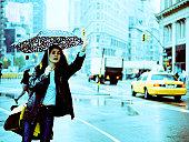 Woman on a rainy day