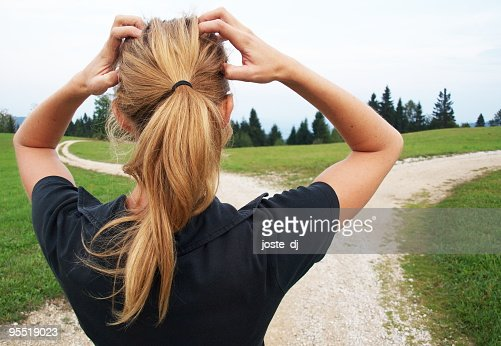 Woman on a trail feeling frustrated