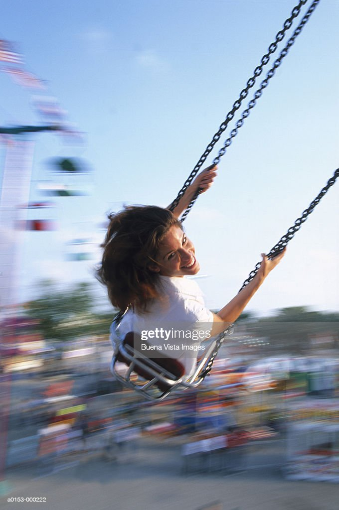 Woman on Amusement Ride : Stock Photo