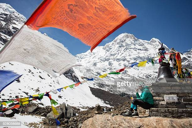 Woman on Annapurna base camp trekking