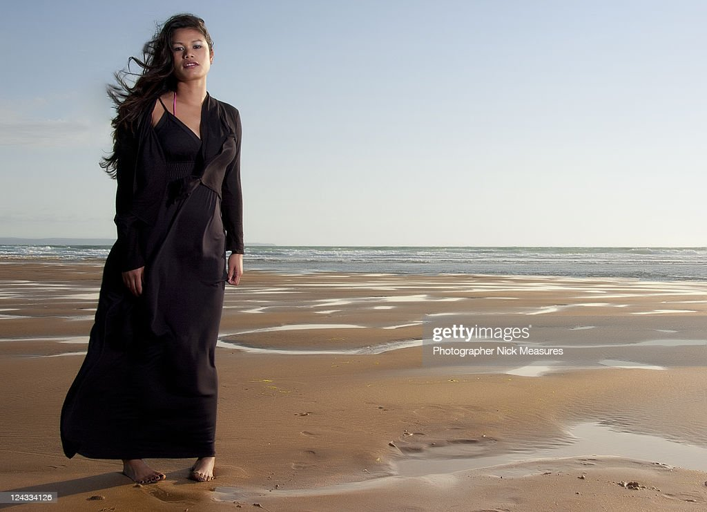 Woman on beach : Stock Photo