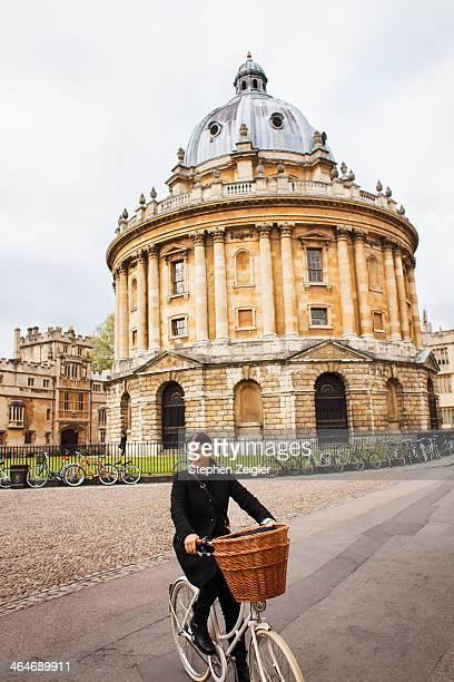 Woman on bike in Oxford, UK