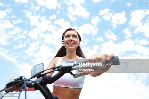Woman on bike : Stock Photo
