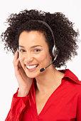 Woman on headset