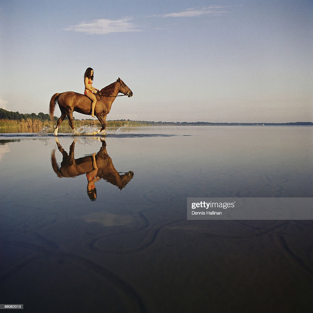 Woman on horse in lake : Stock Photo