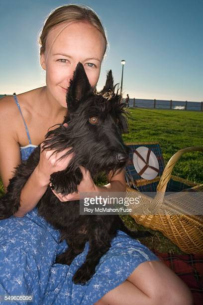 Woman on Picnic with Dog