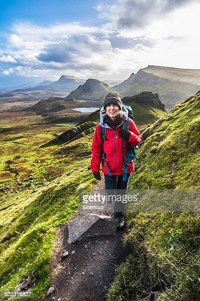 Woman on Quiraing Trail, Isle of Skye Scotland