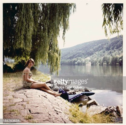 Woman on river : Stock Photo