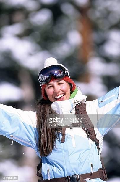 Woman on slopes, Alta, Utah.